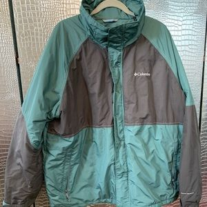 Men's Columbia Coat Green and Grey w/Hood size 2XL